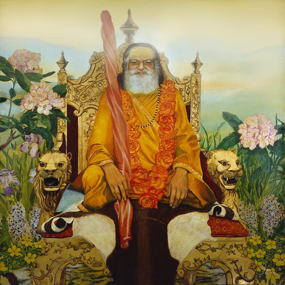 """©1975, Shankaracharya Brahmanada Saraswati, 36x36"""", oil"""