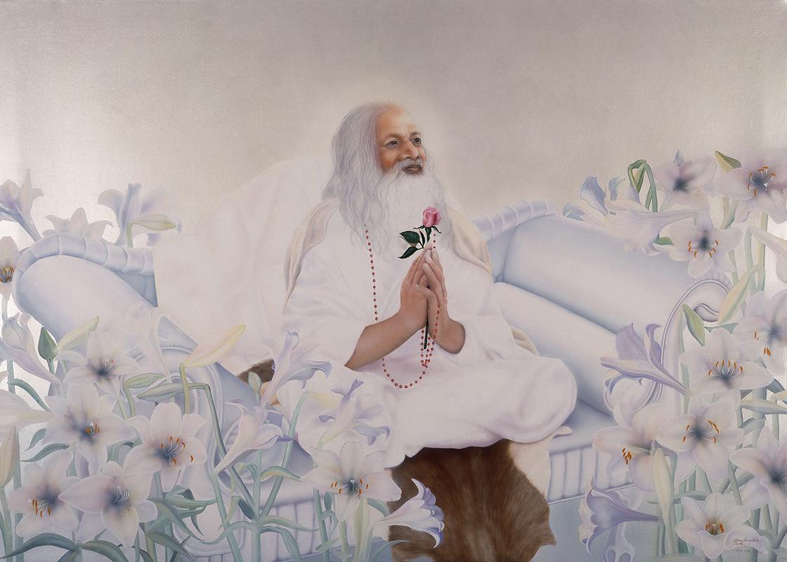 """©1986, Maharishi Mahesh Yogi, 34x48"""", oil"""