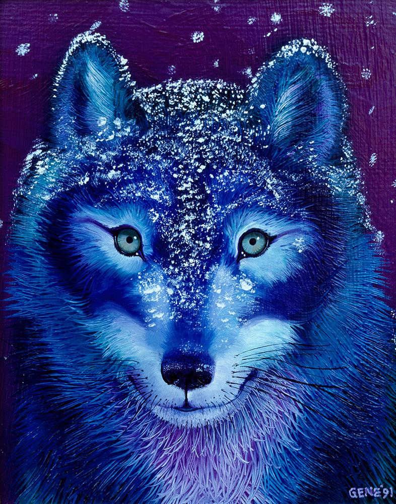 "©1991, Snow Wolf, 8x10"", oil"
