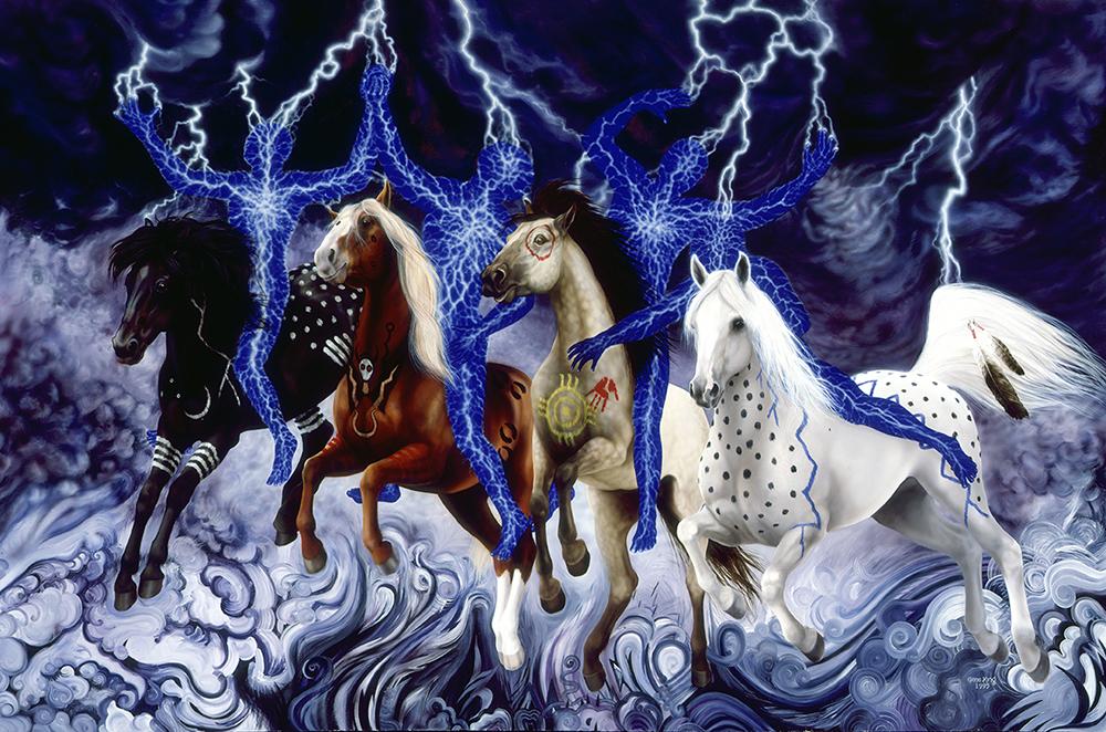"""©1995 """"Wacipi Shunkawakan"""" Horse Dance 48x72 oil"""
