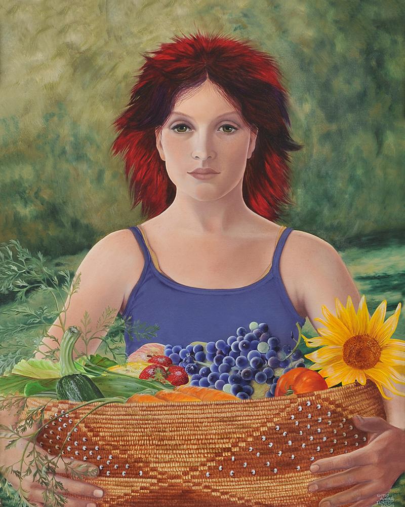 """©2004, Mendo Girl, 18x22"""", oil"""