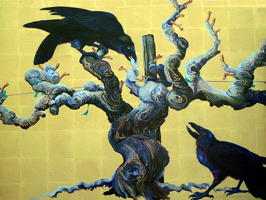 "©2005, Ravens in Vineyard, 18x24"", oil"