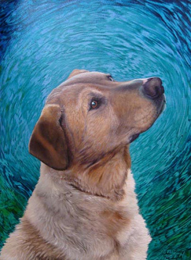 """©2006, Waterdog, 9x12"""", oil"""