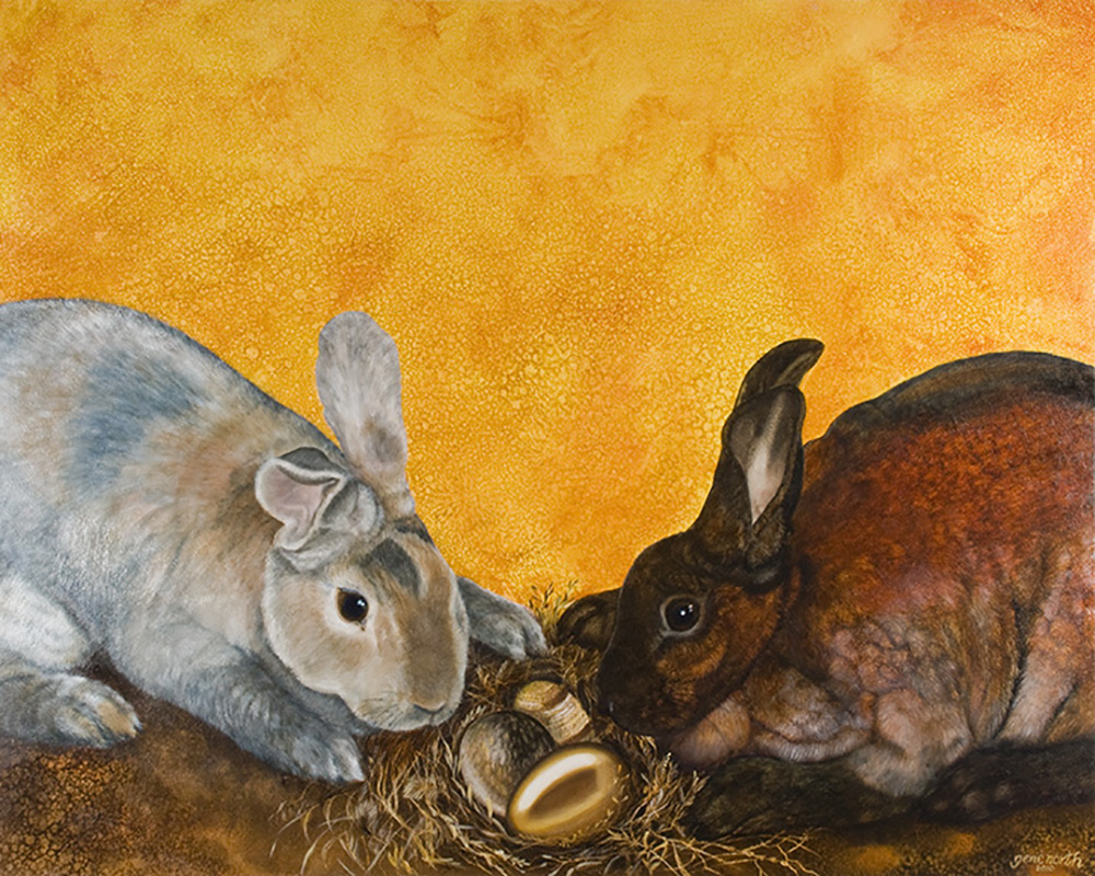 "©2010, Bunnies with eggs, 18x24"", oil"