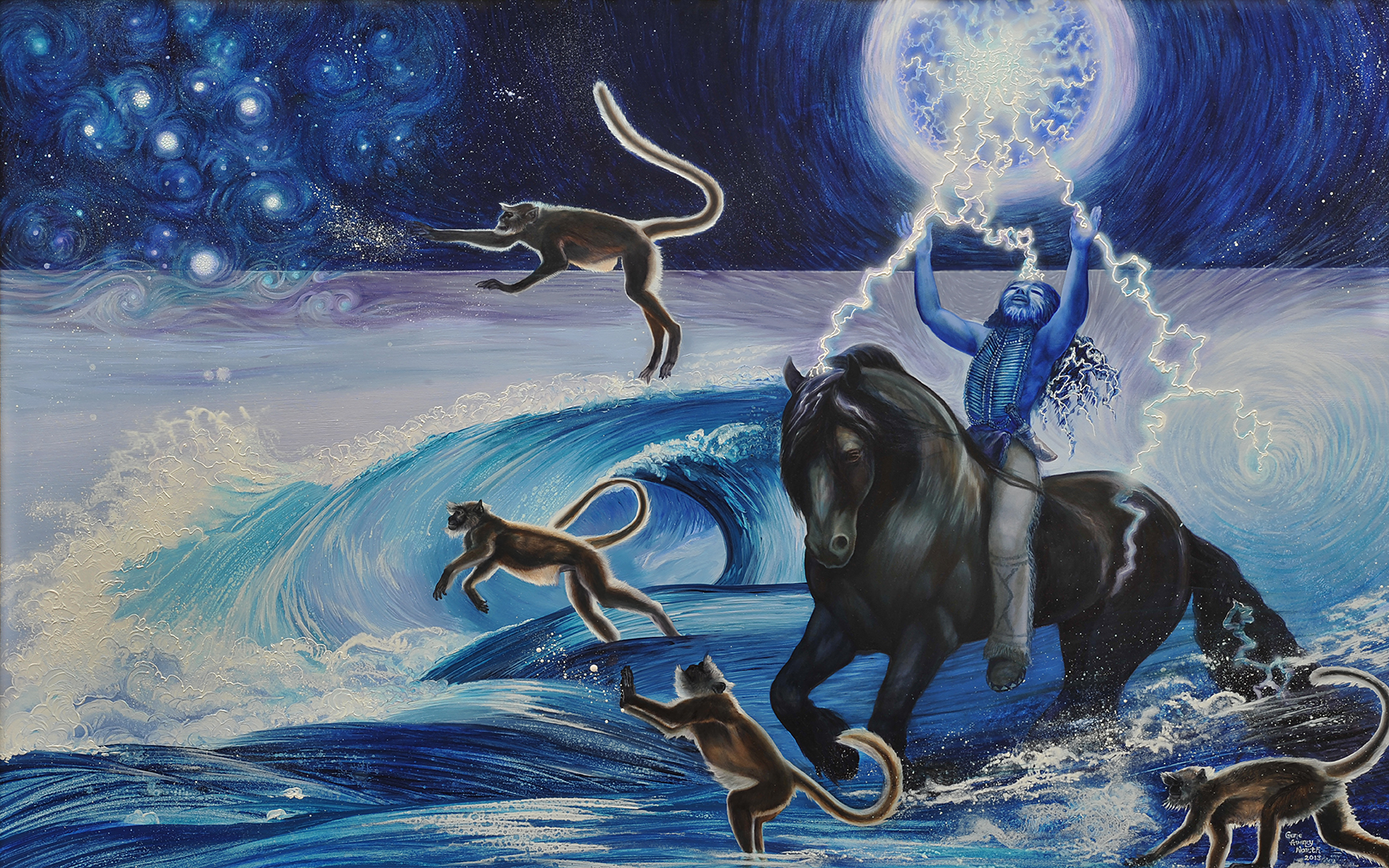 ©2013 Pleiadeans to the Rescue at Fukushima 30x48 oil