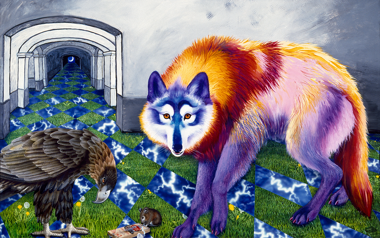 "©1991, Wolf, Eagle, & Mouse, 30x48"", oil"