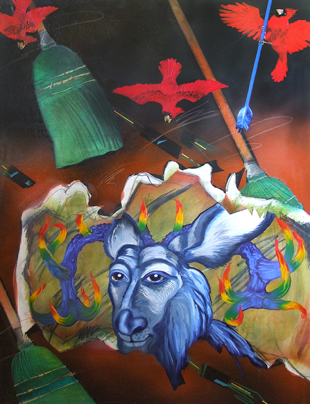 "©2009, Memphis Blue Deer, 35x50"", oil"